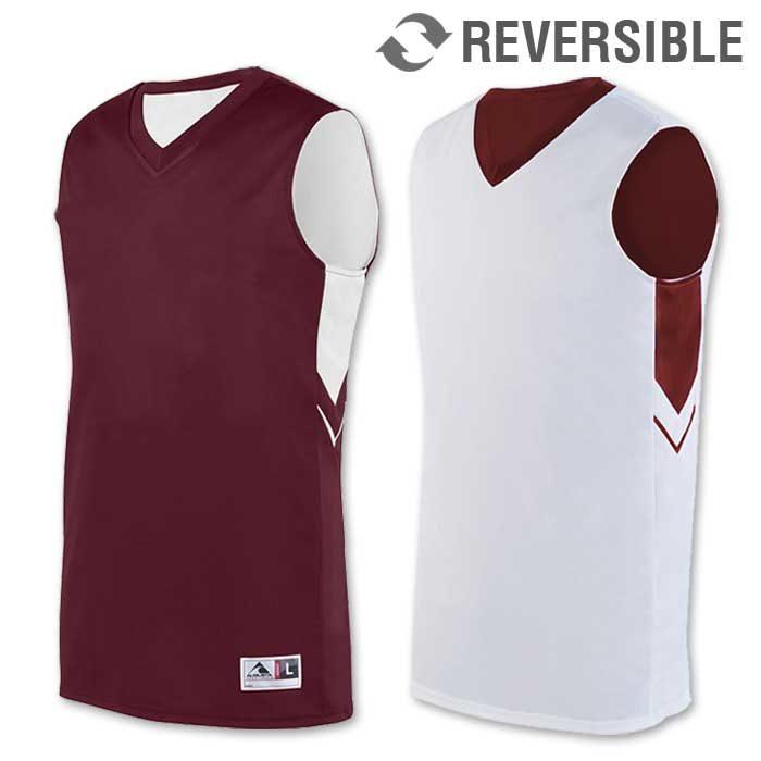 reversible alley-oop basketball uniform jersey in maroon