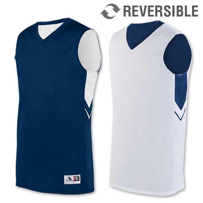 reversible alley-oop basketball uniform jersey in navy blue