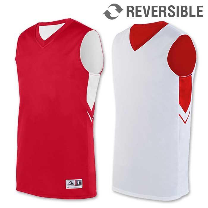 reversible alley-oop basketball uniform jersey in red