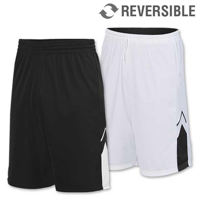reversible alley-oop basketball uniform shorts in black