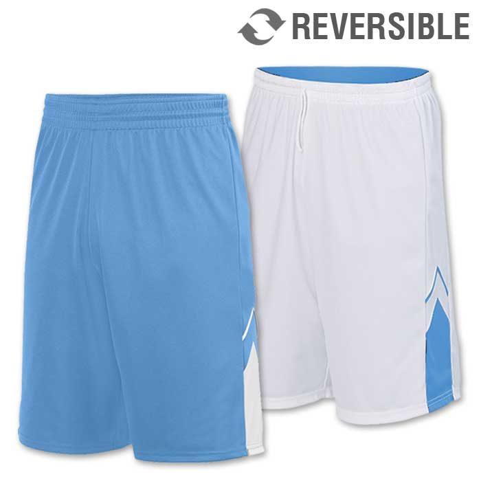 reversible alley-oop basketball uniform shorts in light blue
