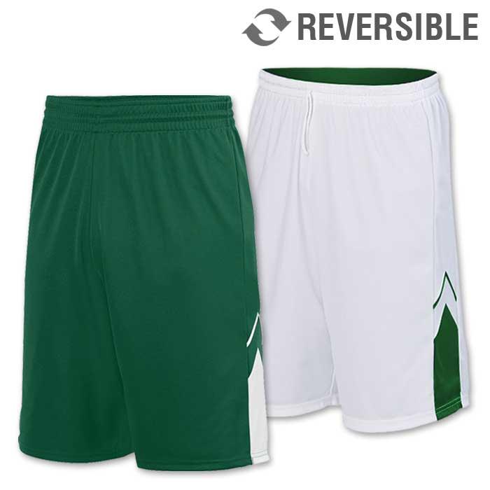 reversible alley-oop basketball uniform shorts in dark green