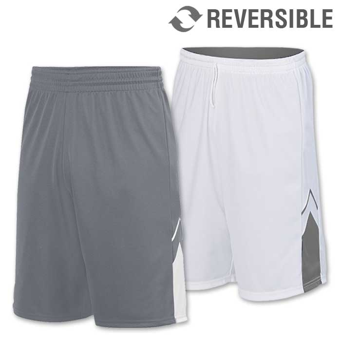 reversible alley-oop basketball uniform shorts in grey