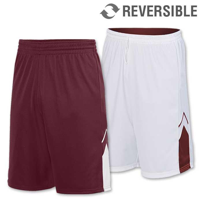 reversible alley-oop basketball uniform shorts in maroon
