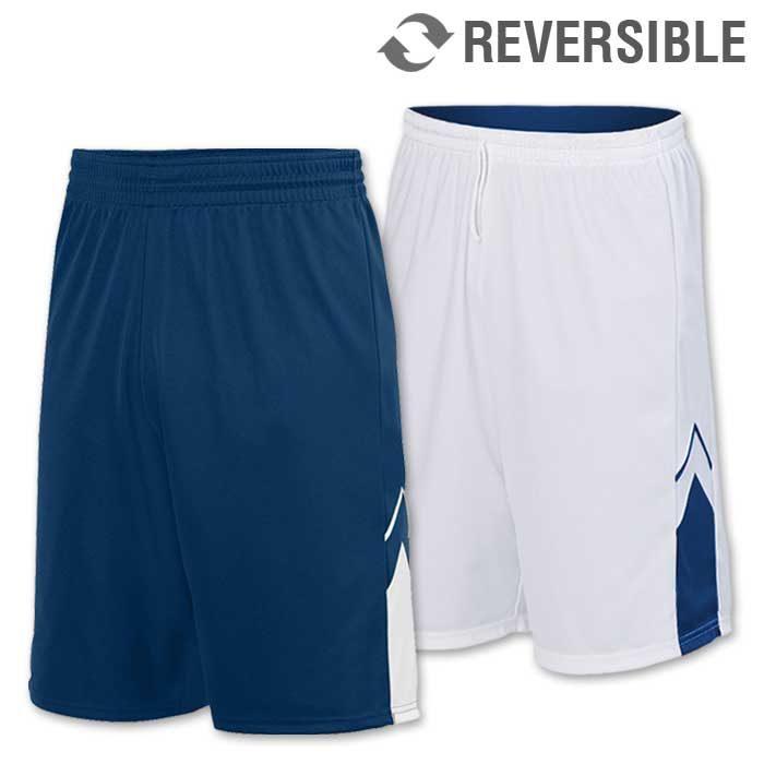 reversible alley-oop basketball uniform shorts in navy blue