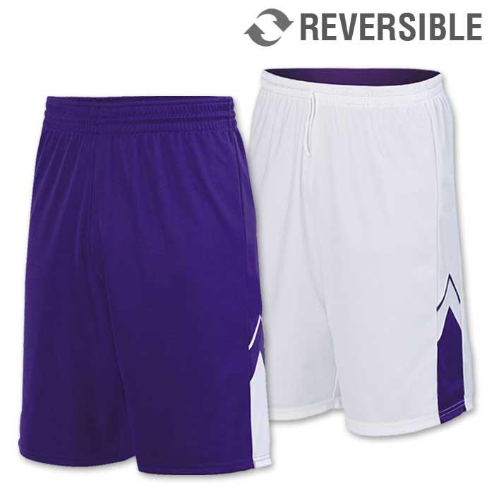 reversible alley-oop basketball uniform shorts in purple