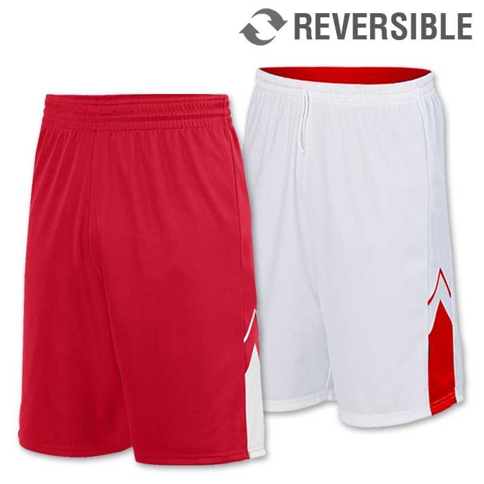 reversible alley-oop basketball uniform shorts in red