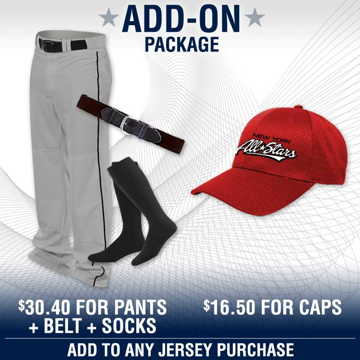 Baseball Add On Package Fast shown with pants, belt, socks, cap