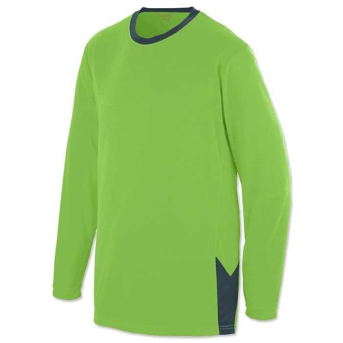 Lime Block Out Shooter Shirt for Basketball. Long Sleeve