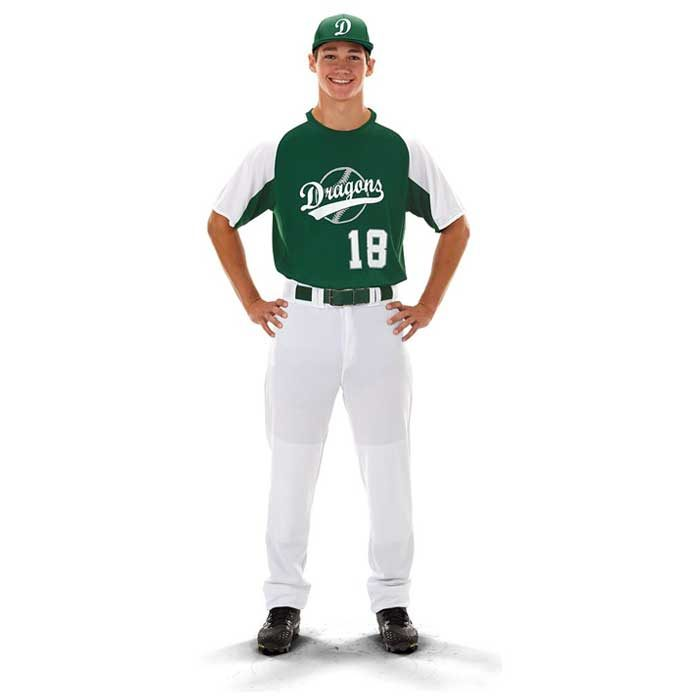 Front View of Cutter Baseball Uniform Jersey on Model