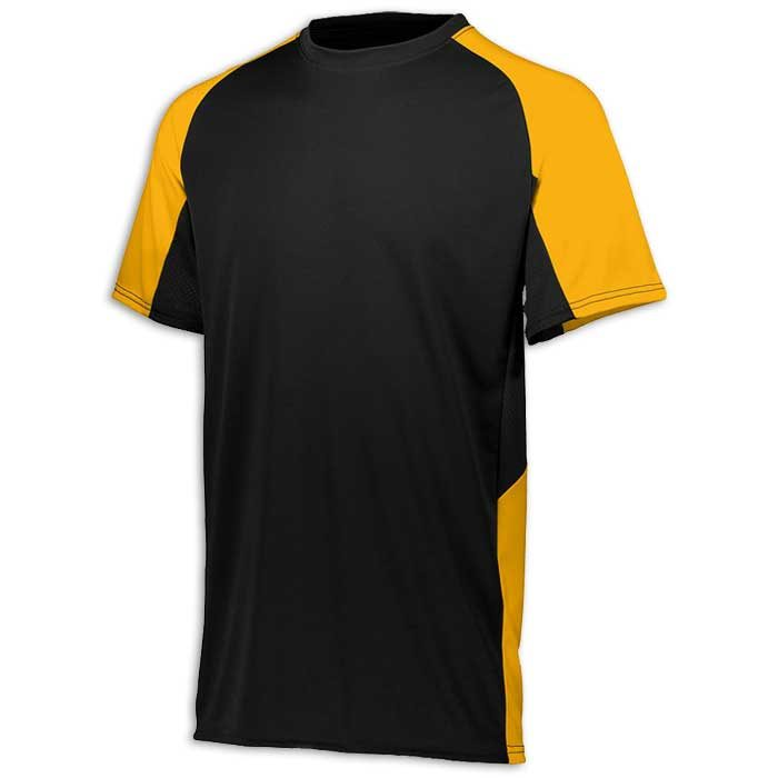 Black and Athletic Gold Cutter Baseball Uniform Jersey