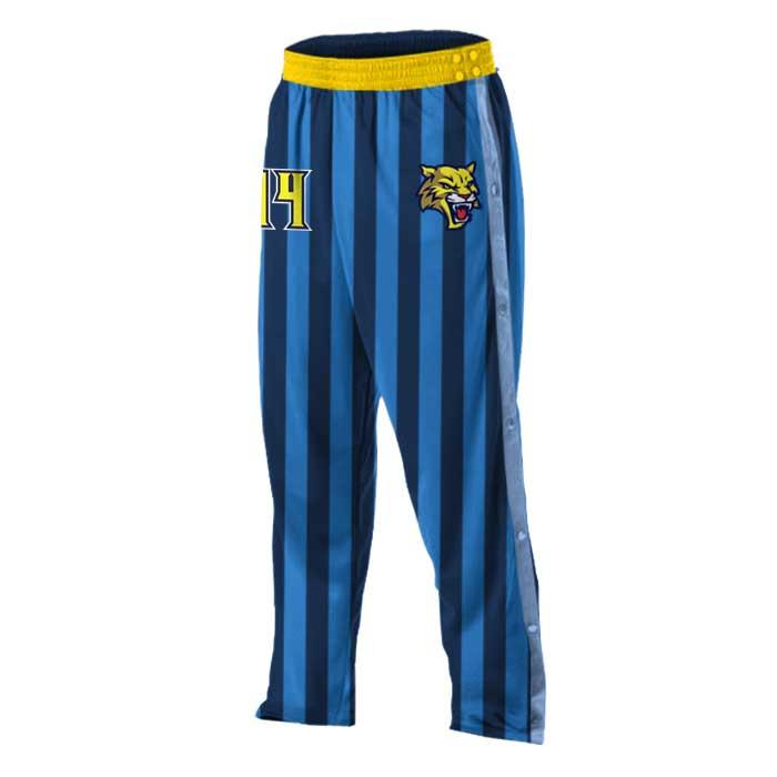 custom candy stripe basketball tearaway warmup pants