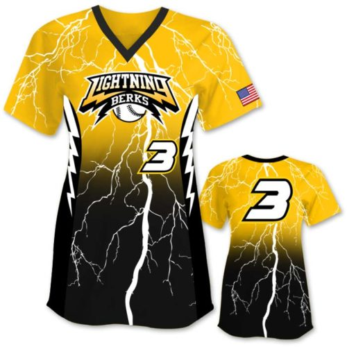 Elite Thunderstruck Custom Fastpitch Jersey, Gradient Lightning Bolts