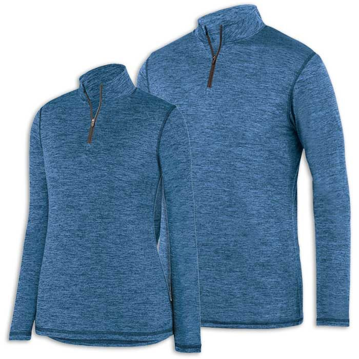 Columbia Blue Intensify Black Heather Quarter Zip Pullover