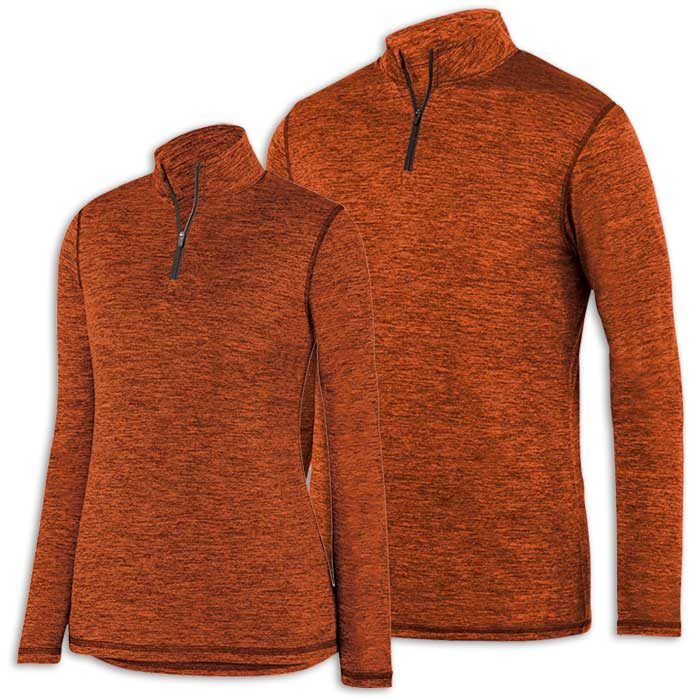 Orange Intensify Black Heather Quarter Zip Pullover