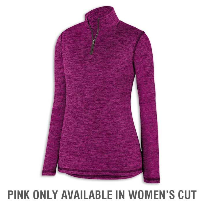 Ladies Power Pink Intensify Black Heather Quarter Zip Pullover