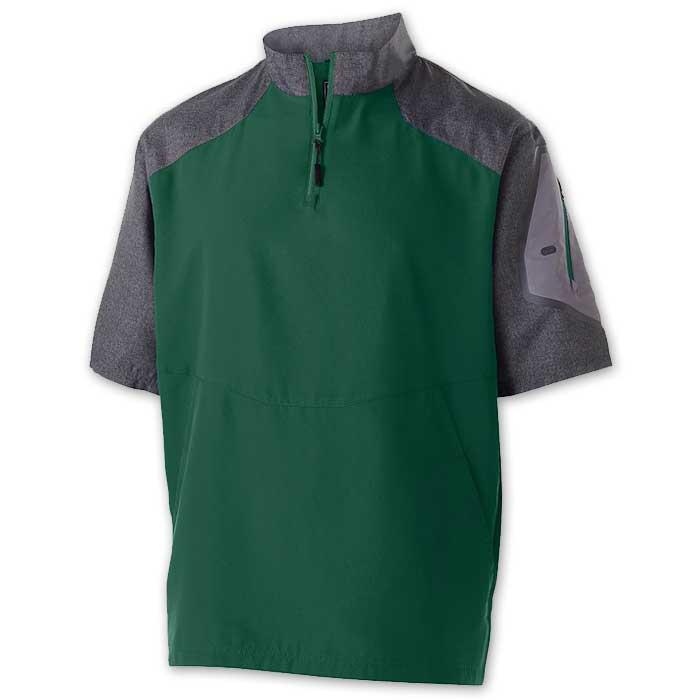 Dark Green Raider Short Sleeve Pullover Batting Jacket