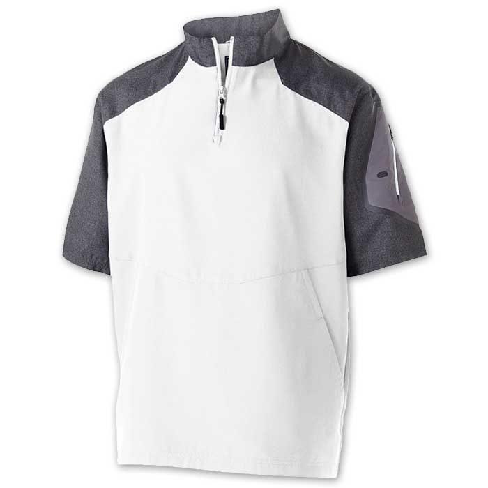 White Raider Short Sleeve Pullover Batting Jacket