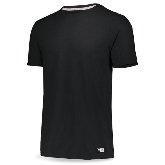 Black Russell Essential Tee Short Sleeve with Your Team Logo