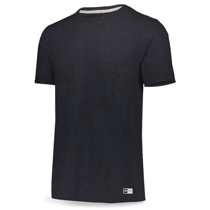 Black Heather Russell Essential Tee Short Sleeve with Your Team Logo