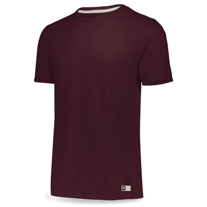 Maroon Russell Essential Tee Short Sleeve with Your Team Logo