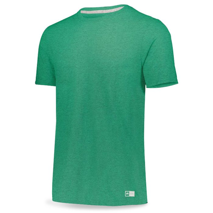 Retro Heather Kelly Green Russell Essential Tee Short Sleeve with Your Team Logo