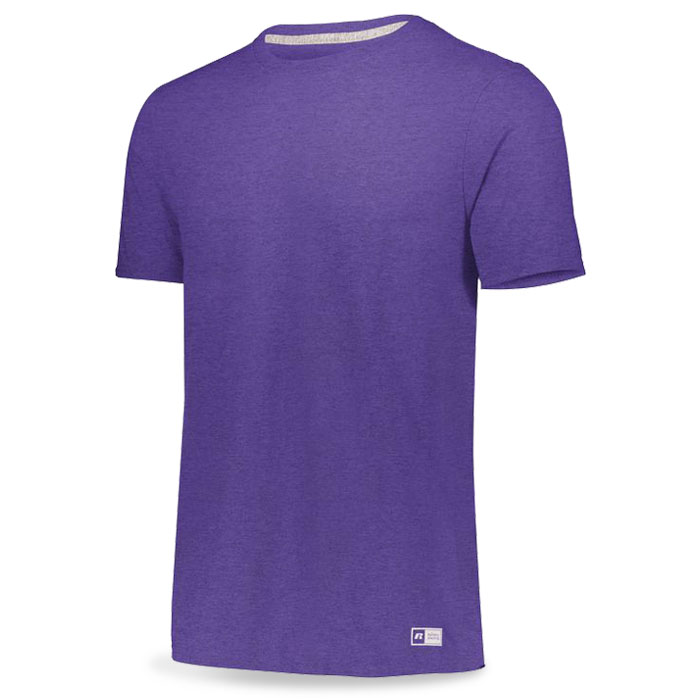 Retro Heather Purple Russell Essential Tee Short Sleeve with Your Team Logo