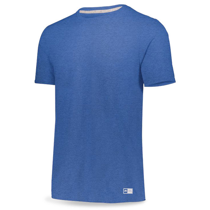 Retro Heather Royal Blue Russell Essential Tee Short Sleeve with Your Team Logo