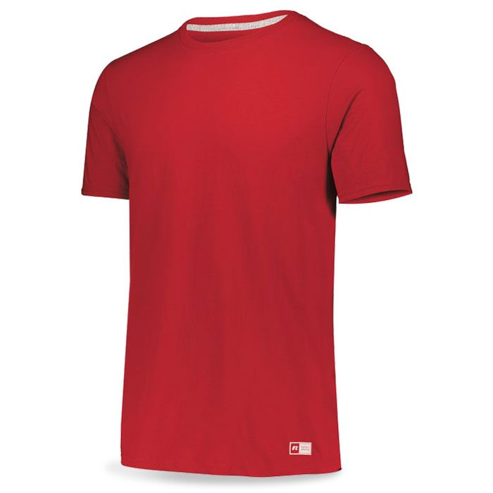 True Red Russell Essential Tee Short Sleeve with Your Team Logo
