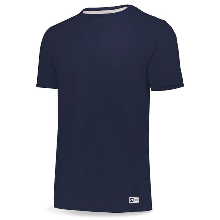 Vintage Heather Navy Blue Russell Essential Tee Short Sleeve with Your Team Logo