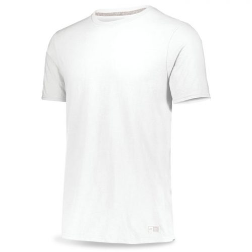 White Russell Essential Tee Short Sleeve with Your Team Logo