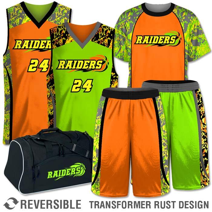 Custom Sublimated Basketball Reversible Uniform Team Pack Ball Reversal