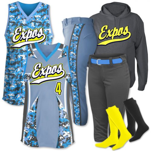 Team Pack Elite License To Design Custom Sublimated Camo Faspitch Softball Team Pack