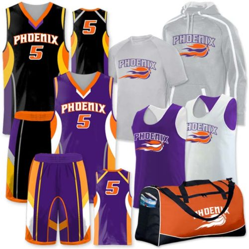 Basketball Team Pack Elite One Eighty, Custom Sublimated Reversible, Discounted, Includes Decoration, Black, Orange and Purple