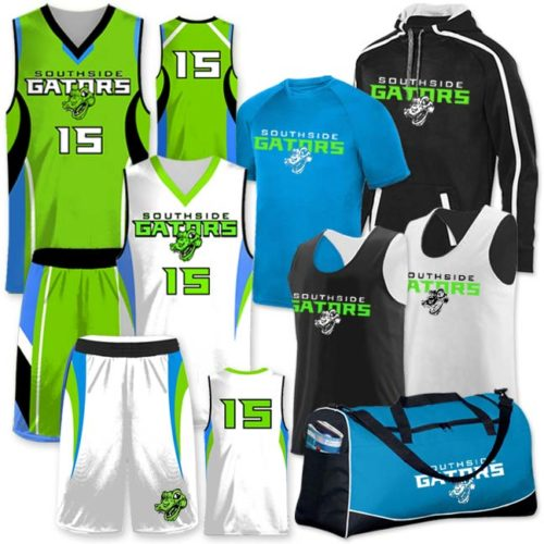 Basketball Team Pack Elite One Eighty, Custom Sublimated Reversible, Discounted, Includes Decoration, Lime Green, Electric Power Blue, Black and White