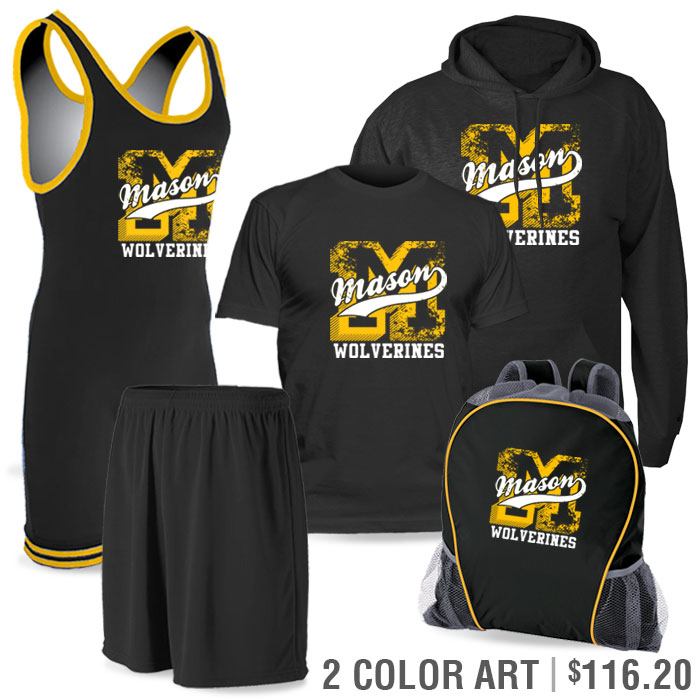 Team Pack Matman Regulation Discounted Wrestling Singlet Team Pack in Black and Yellow Gold