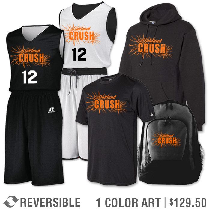 Team Pack Russell Undivided Reversible Uniform, Shooter, Hoodie and Bag in Black