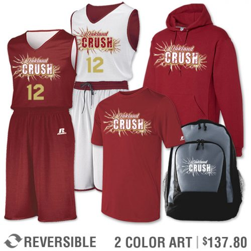 Team Pack Russell Undivided Reversible Uniform, Shooter, Hoodie and Bag in Cardinal