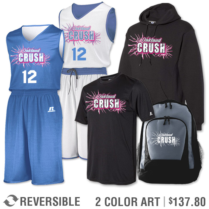 Team Pack Russell Undivided Reversible Uniform, Shooter, Hoodie and Bag in Columbia Blue