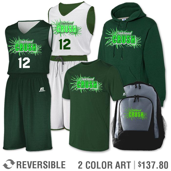 Team Pack Russell Undivided Reversible Uniform, Shooter, Hoodie and Bag in Dark Green