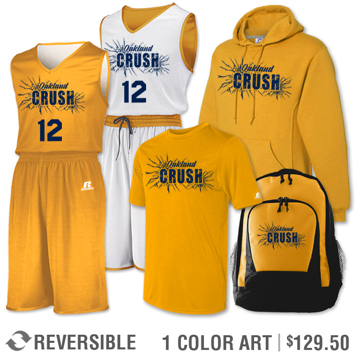 Team Pack Russell Undivided Reversible Uniform, Shooter, Hoodie and Bag in Gold