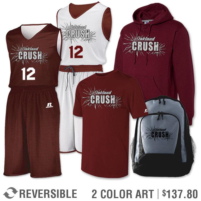 Team Pack Russell Undivided Reversible Uniform, Shooter, Hoodie and Bag in Maroon