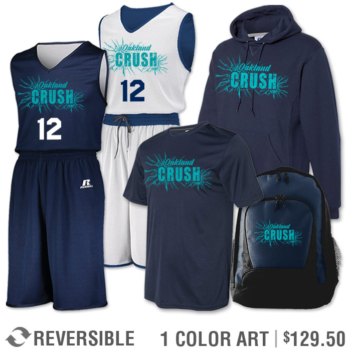 Team Pack Russell Undivided Reversible Uniform, Shooter, Hoodie and Bag in Navy Blue