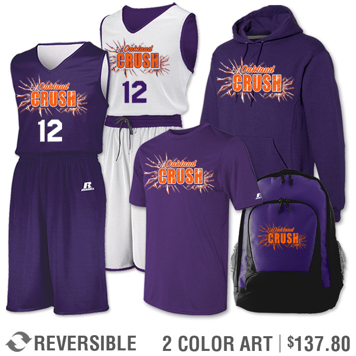 Team Pack Russell Undivided Reversible Uniform, Shooter, Hoodie and Bag in Purple