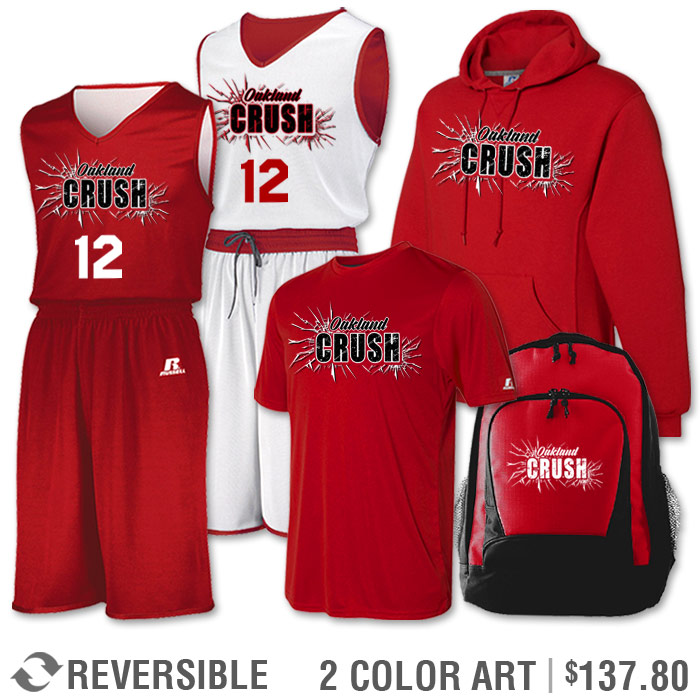 Team Pack Russell Undivided Reversible Uniform, Shooter, Hoodie and Bag in Red