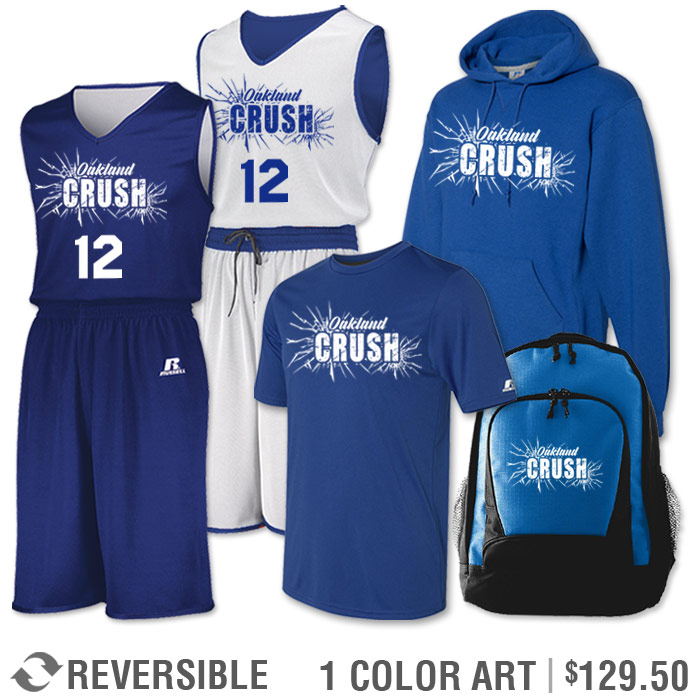 Team Pack Russell Undivided Reversible Uniform, Shooter, Hoodie and Bag in Royal Blue